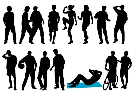 Young people silhouettes. This image is an illustration