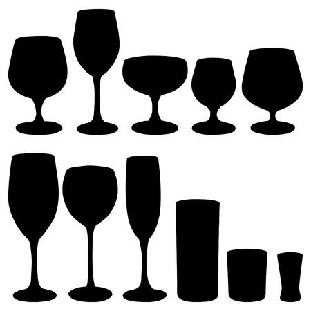 alcoholismo: Conjunto de vasos para bebidas alcoh�licas. Ilustraci�n Vectores