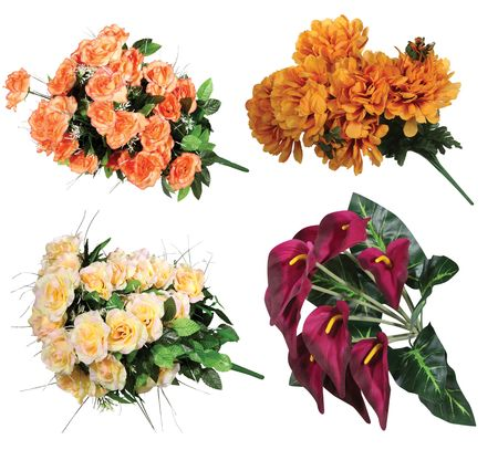 Bouquet of artificial flowers isolated on white background  Stock Photo