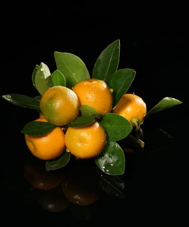 Tangerine with green leaves and water isolated on black