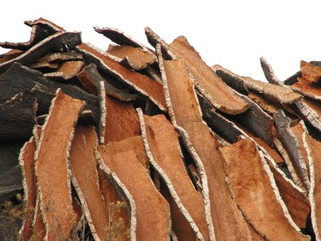 huge pile of corc oak bark in portugal photo