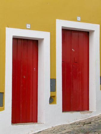 distinctive: dark red door in ancient portugal city of siena Stock Photo