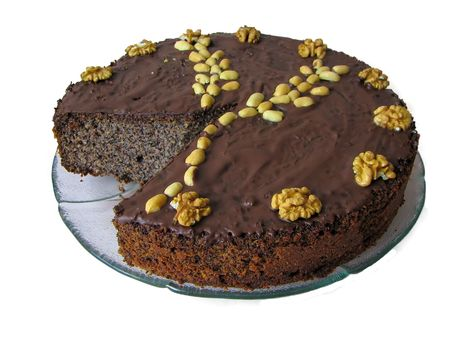 poppy seed cake with chocolate and nuts photo
