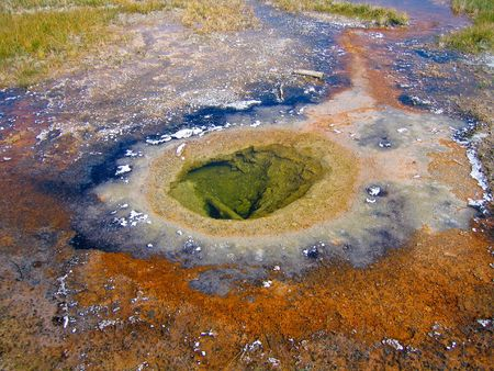 overtone: hot spring close-up in Yellowstone national park