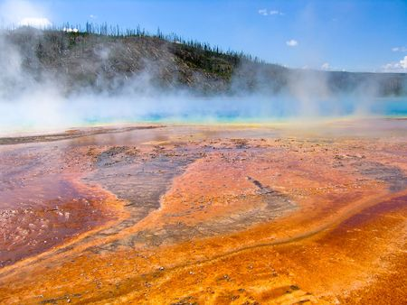 overtone: misty hot springs in Yellow stone national park Stock Photo