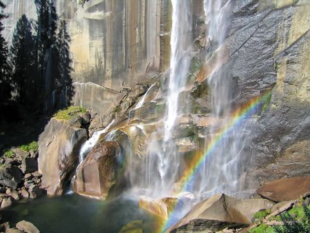 waterfall with rainbow in Yosemite photo