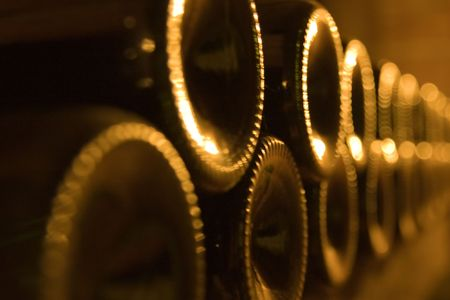nappa: a close-up of stacked wine bottles in the cellar Stock Photo