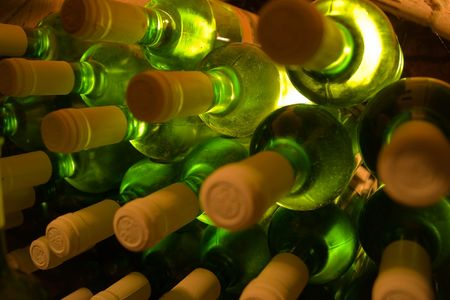 stacked bottles of white wine Stock Photo - 2846821