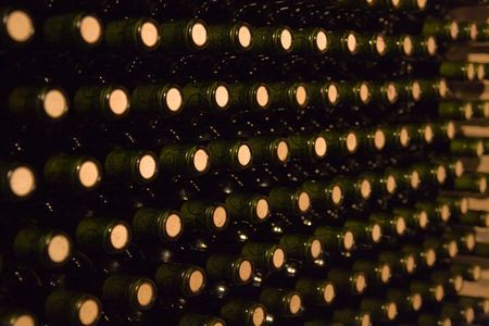 endless stack of wine bottles Stock Photo - 2846722