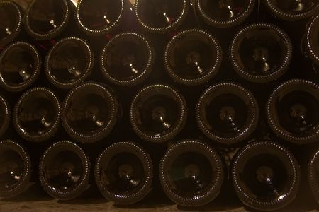 a close up of stacked wine bottles' bottoms Stock Photo - 2846693