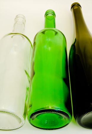 bocal: a close-up of the  three wine bottles Stock Photo