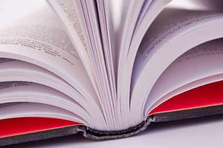 bookish: a close-up of open book on white background