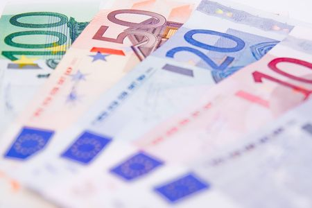 Euro banknotes on the table Stock Photo