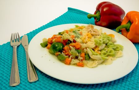 plate of mixed pasta with vegetable Stock Photo - 2940428
