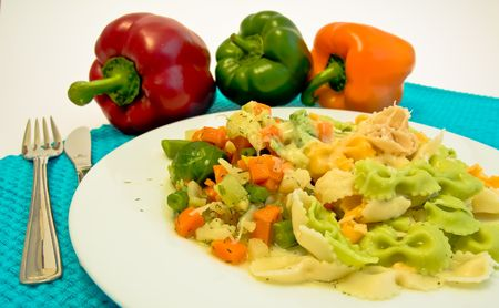 plate of mixed pasta with vegetable Stock Photo - 2940423