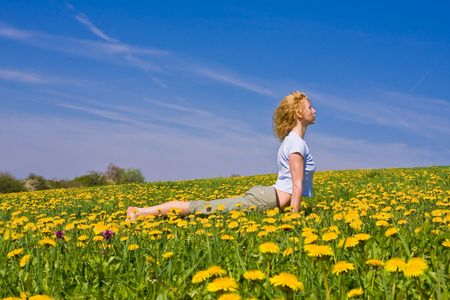 young female excercising yoga on flowery meadow Stock Photo - 3318681