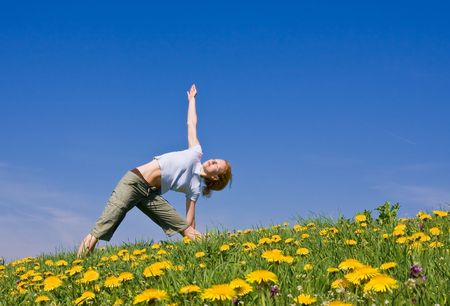 young female excercising yoga on flowery meadow Stock Photo - 3318668