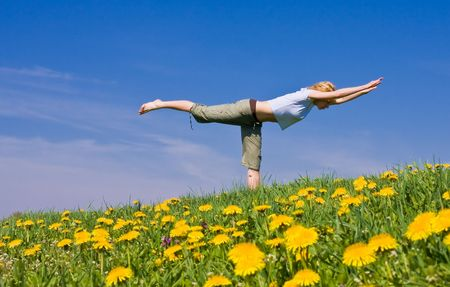 young female excercising yoga on flowery meadow Stock Photo - 2954819