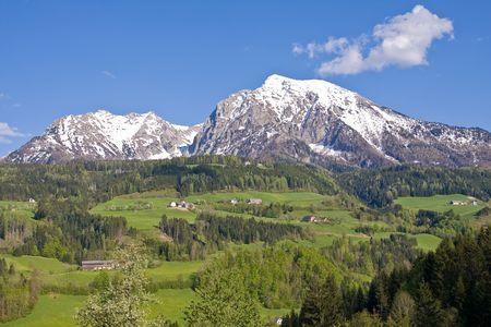 alpine landscape in the springtime photo