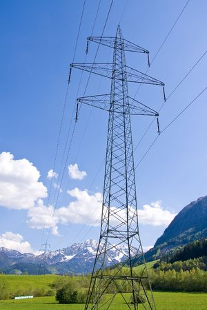 electrical powerlines with a blue sky Stock Photo - 3084262