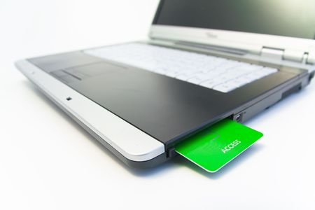 notebook with green access card photo