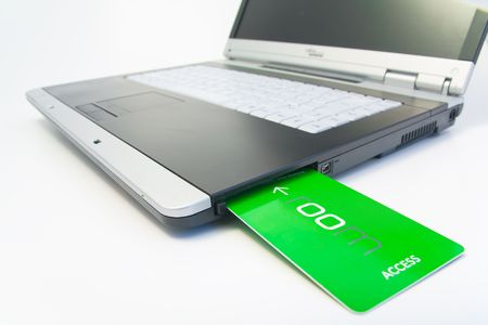 notebook with green access card Stock Photo