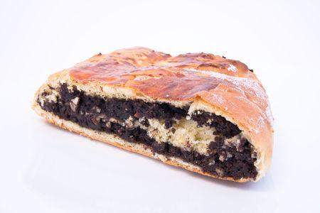 european cuisine: poppy seed cake on white background Stock Photo