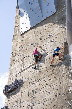 climbing on an artificial training wall photo