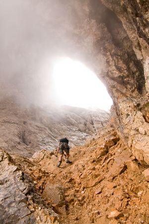 female climbing ferrata in julian alps, slovenia Stock Photo - 3398675