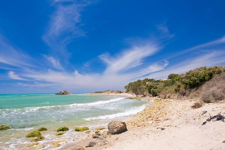 beautiful italian seaside with a blue sky photo