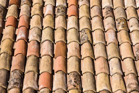 mediterranean home: weathered roof tile background Stock Photo