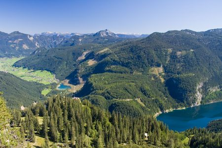 alpine lake scenery in the summer photo