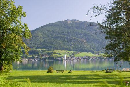 mountainside: beuatiful alpine lake with crystal water