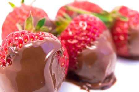 dipped: strawberry dipped in melted chocolate