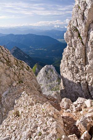 white limestone cliffs of julian alps, slovenia photo