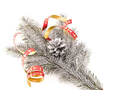 tree branch as christmas decoration on white background photo