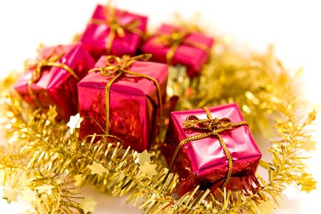 christmas presents arrangement on white background Stock Photo - 3807340