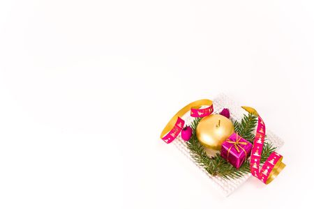 christmas arrangement on white background photo