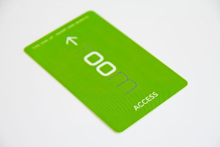 green access card on white background - low DOF photo