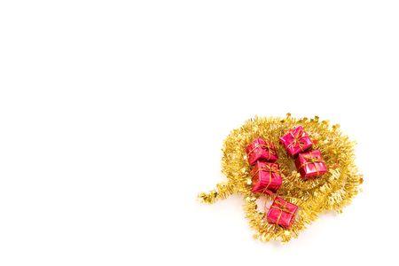 christmas presents arrangement on white background photo