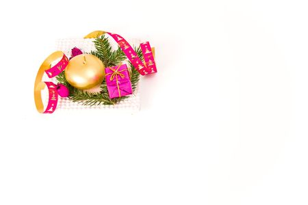 christmas arrangement on white background photo