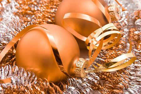 christmas glass balls and tinsel photo