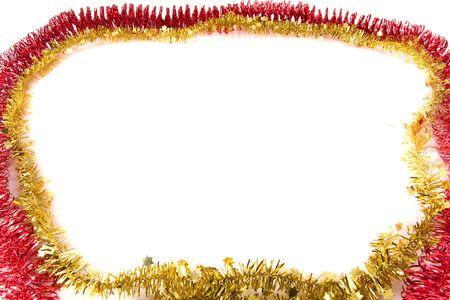 Christmas tinsel on white background photo