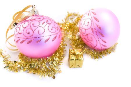 traditional pink christmas glass ball photo