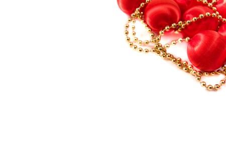 Christmas balls decoration on white background photo