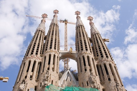 sagrada: unfinished gothic cathedral Sagrada Familia in Barcelona, Spain