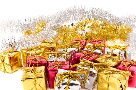 christmas presents on white background photo