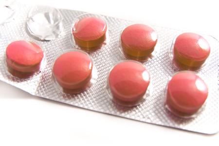 a tablet blister: packs of medical pills on white background Stock Photo