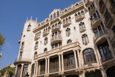 noteworthy: typical Art Nouveau building in Barcelona, Spain
