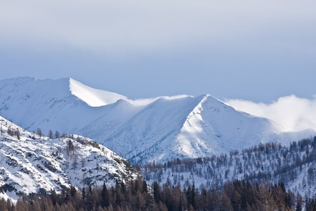 wintersport: alpine peaks covered with snow Stock Photo